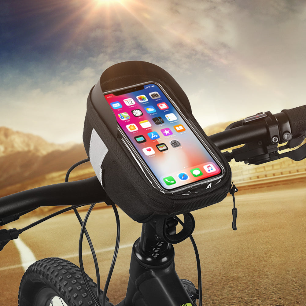 JINGJINGOLD Bicycle Phone Mount Bags Waterproof Bike Handlebar Bag With Touch Screen Phone Holder Front Frame Top Tube Bag