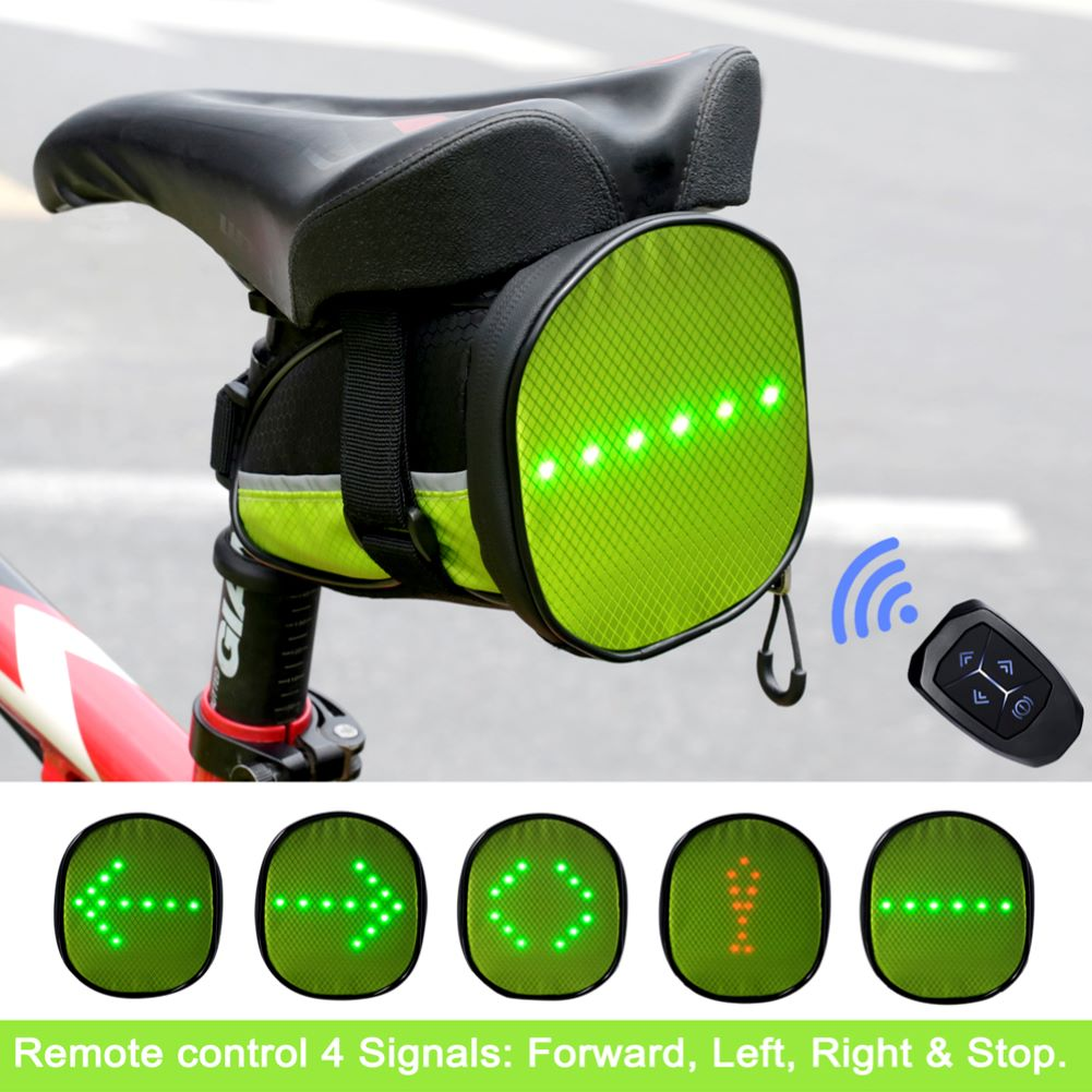 JINGJINGOLD Led Turn Signal Tail Bag Oxford Cycling Saddle Bag Waterproof Wireless Remote Bicycle Bag Bike Safe Bag