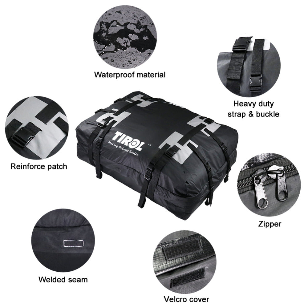 TIROL Waterproof Roof Top Carrier Cargo Luggage Travel Bag (15 Cubic Feet) For Vehicles With Roof Rails T24528b - TIROL LTD