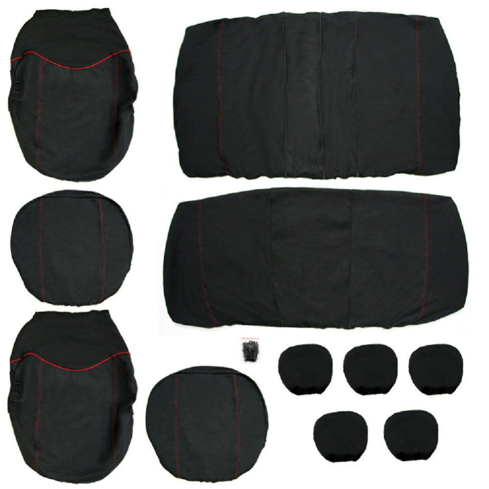 TIROL Universal Car Seat Cover Set New Black /RED 11Pcs for Crossovers SUV Sedans - TIROL LTD