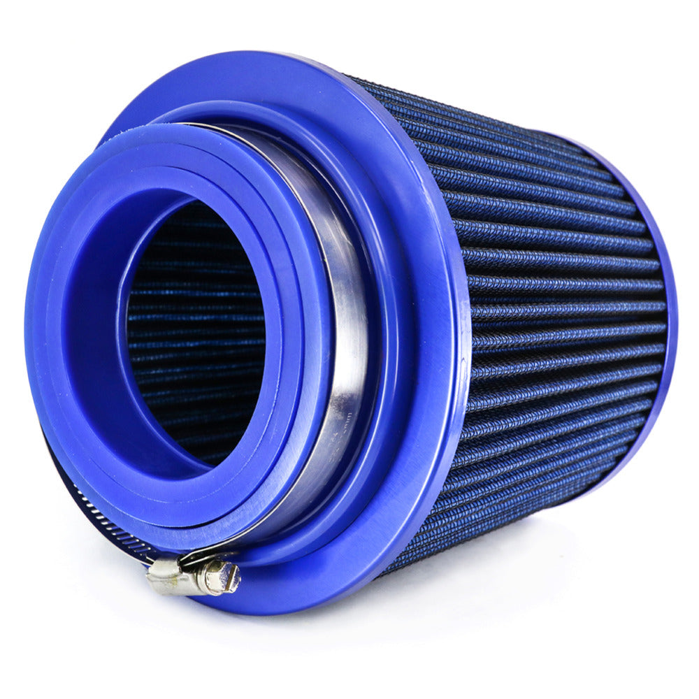 "Universal Air Filter 3"" Round Tapered 76-88-101mm High Performance Auto Cold Air Intake Blue 