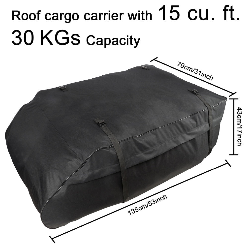 TIROL Water Resistant Roof Bag 15 Cubic Feet Roof Top Cargo Carrier for vehicles with roof rails SUV Van Cargo Box T20656b - TIROL LTD