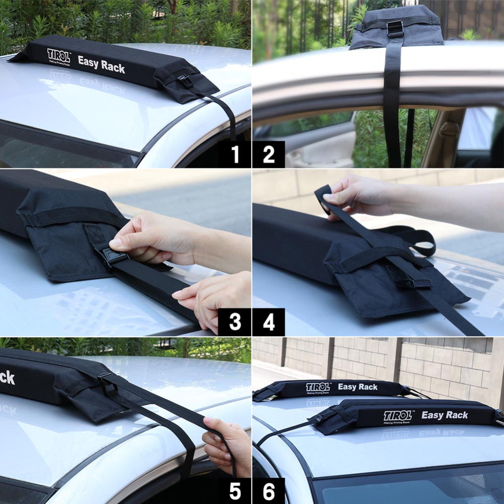 Car Soft Roof Rack Auto Cargo Carrier Easy Racks Universal Roof Racks 2PCS 60KG- TIROL - TIROL LTD