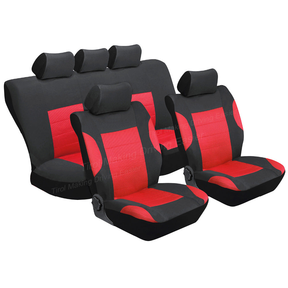 TIROL Breathable Full Car Seat Cover Set 11Pcs Protective Interior Accessories For Crossovers SUV Sedans