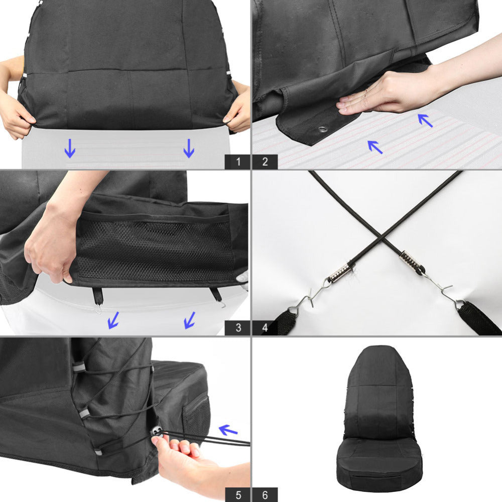 JINGJINGOLD Black Waterproof Universal Car Bucket Seat Cover Multi-Pockets Organizer Storage Holder Protector 1 - TIROL LTD