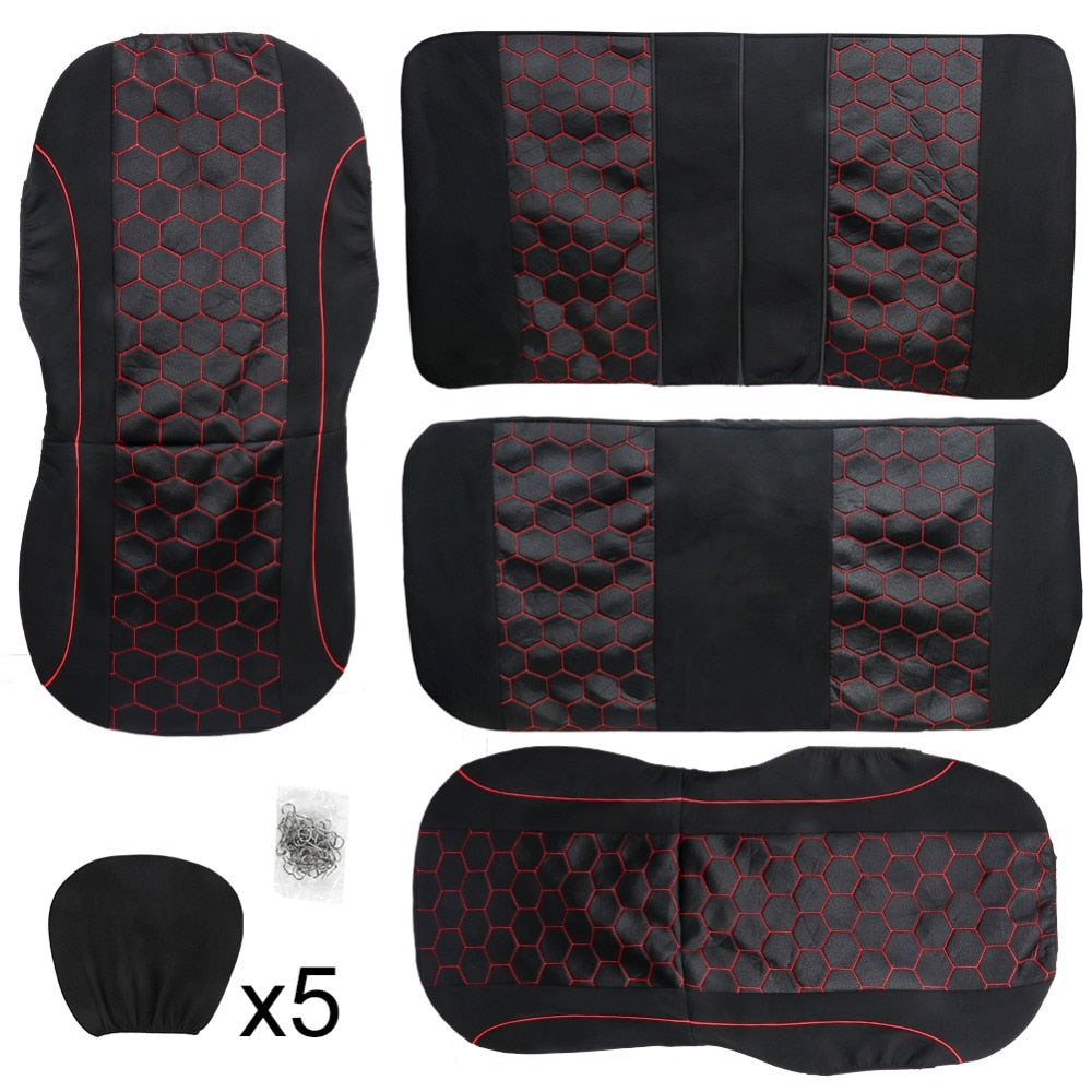 TIROL Universal Full Car Seat Cover Set 9Pcs Zipper Seat Protective Air Bag Compatible Car Interior Accessories For Crossovers - TIROL LTD