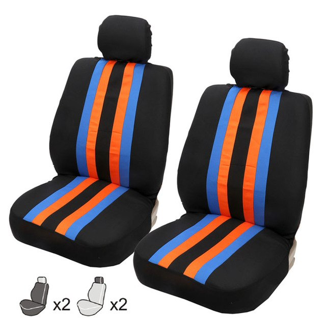 TIROL Universal Car Front Seat Cover Blue Orange Yellow Car Seat Cover Set Mesh Auto Interior Accessories - TIROL LTD