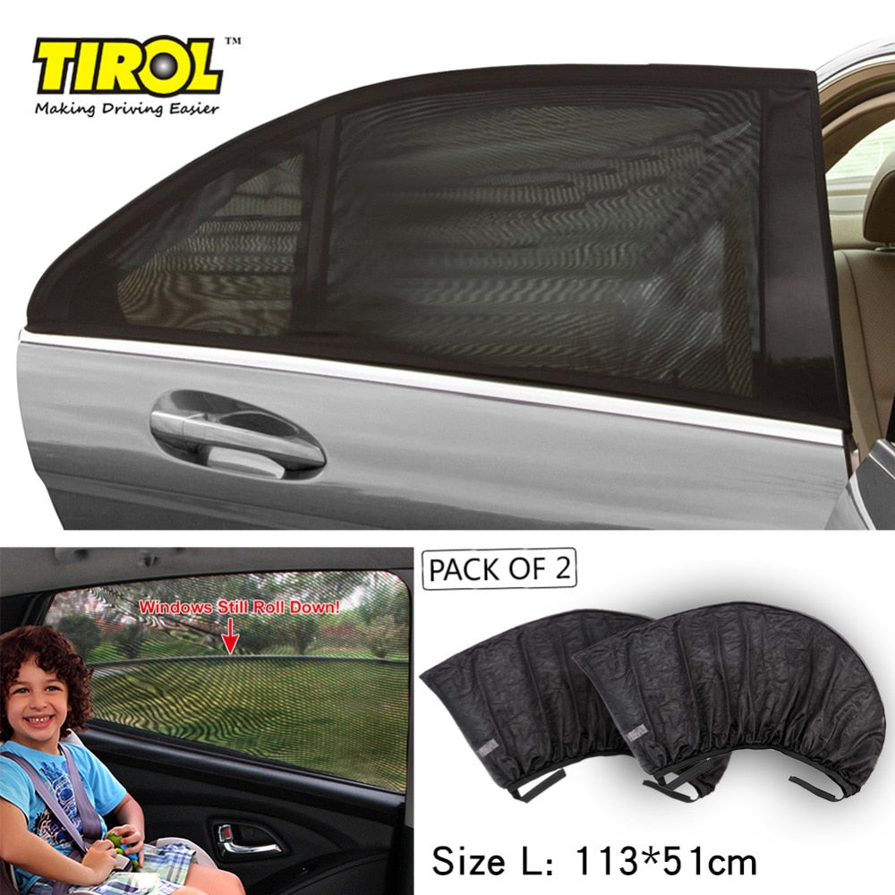 TIROL 2pcs Car Side Rear Window Sun Shade Black Mesh Solar Protection Car Cover Visor Shield UV Size L: 113X51cm - TIROL LTD