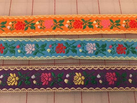 Floral Jacquard Ribbon Trim - 3 colors