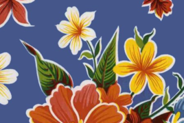 Oil Cloth - Classic Hibiscus on Blue