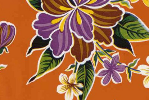 Oil Cloth - Classic Hibiscus on Orange