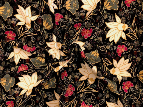 95/5 Cotton/Spandex Jersey - Black, with a Bold Paisley Floral in White, Raspberry, and Gold