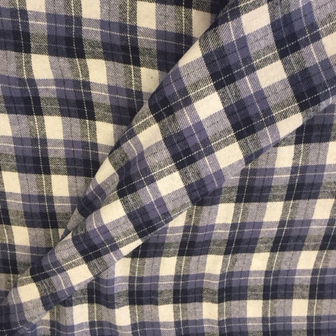 100% Cotton Yarn Dyed Flannel - Blue, Black & White Plaid