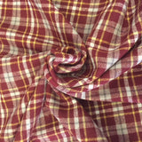 100% Cotton Yarn Dyed Flannel - Wine, Gold & White Plaid