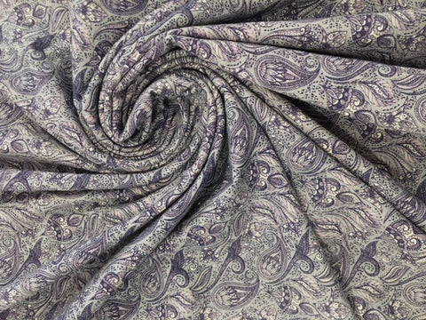 95/5 Cotton/Spandex Jersey - Steel Mini Paisley - Exclusive Print