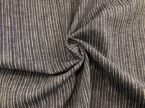Organic Cotton/Hemp Shirting - Mini Multi Stripe Charcoal & Navy