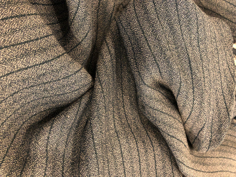 Rayon Crepe Stripe - Dove and Charcoal