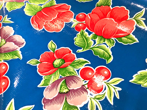 Blue Flowers & Cherries -  OILCLOTH