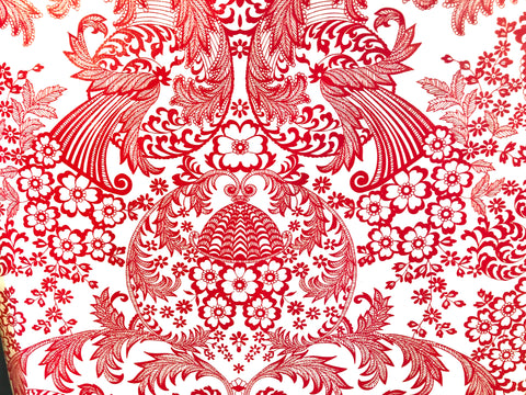 Oil Cloth - Red Lace on White