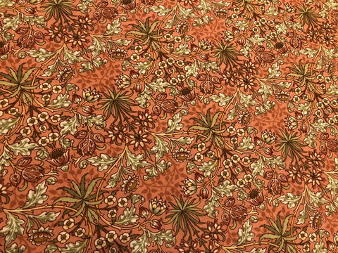 William Morris Inspired Cinnamon Orange Baroque Calico - by Moda - 100% Cotton Quilting