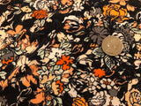 95/5 Cotton/Spandex Jersey - Black and Coral Floral