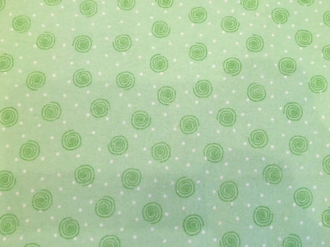 100% Cotton Flannel Spirals Design - Peppermint Patty Green