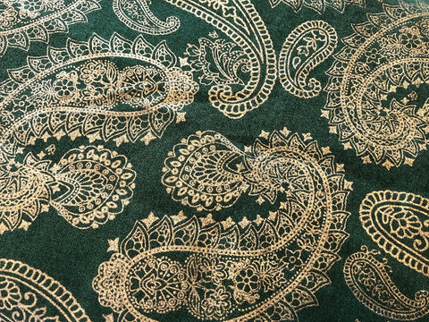Metallic Gold Paisley on Evergreen  - 100% cotton quilting
