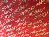 """Happy Holidays"" Metallic Gold on Red  - 100% cotton quilting"