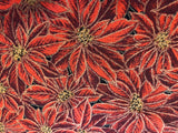 Poinsettias in Metallic Gold and Red  - 100% cotton quilting