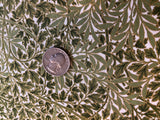 Elegant Leaves in  Metallic Gold and Greens  - 100% cotton quilting