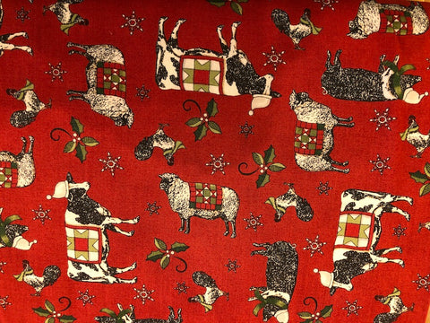 Barnyard Christmas Critters on Red  - 100% cotton quilting