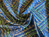 Midnight Mosaic Rayon Challis - Deep Blue, with Lime, Apricot, and Grays