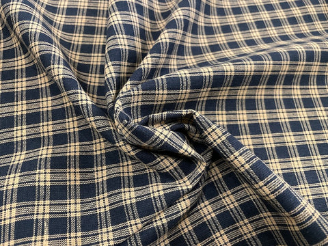 100% Cotton Yarn Dyed Shirting - Navy & Cream