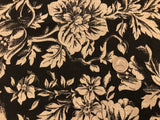 Linen Jacket Weight - Acanthas Floral - Black and Tan