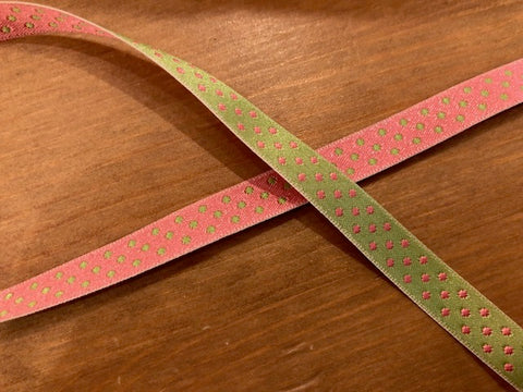 Polka Dot Reversible Ribbon Trim - Lime & Pink
