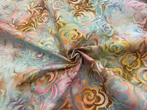 Cotton Batik - Rainbow Floral on Aqua