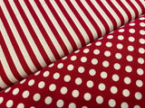 "Red & White Classic 1/4"" Dots  - 100% cotton quilting"