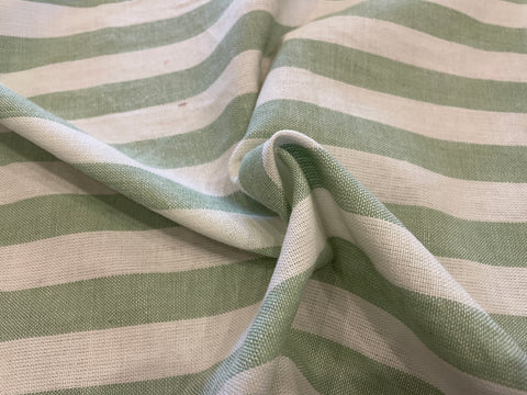 100% Cotton Toweling - Celery Green Chambray Stripe
