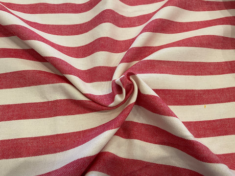 100% Cotton Toweling - Red Chambray Stripe