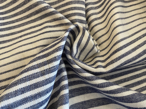 100% Cotton Toweling - Denim Blue Varyiable Chambray Stripe