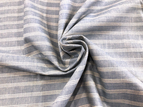 French Blue Stripe Yarn-Dyed Silky-Soft Shirting