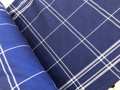 100% Cotton Toweling - Navy & White Windowpane