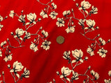 95/5 Cotton/Spandex Jersey - Chinese Red w/ Black & White Blossoms