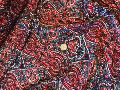 Crinkle Rayon Challis - Marrakesh Design - Red/Teal