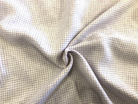 100% Linen - 4oz - Pristine White with Purple Mini Windowpane