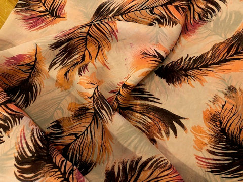 100% Silk Chiffon - Feather Print