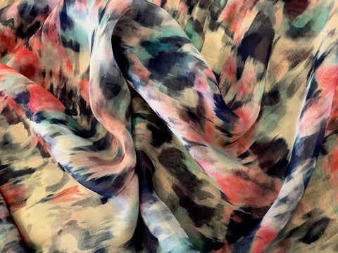 100% Silk Chiffon - Abstract Print