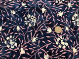 Batik Rayon Challis - Pink Leaves, White Flowers on Navy