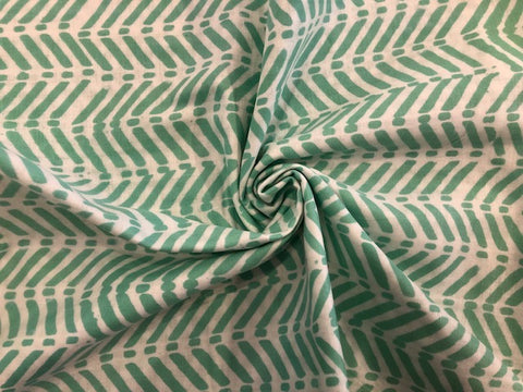 Cotton Double Gauze - Mint Green Chevrons on Cream