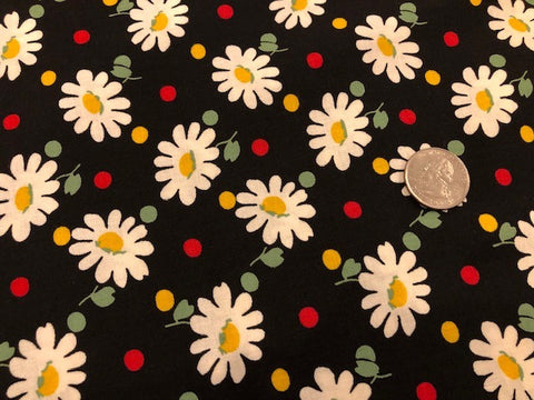 Bubble Pop by Moda - Daisies on Black - 100% Cotton